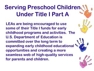 Serving Preschool Children Under Title I Part A