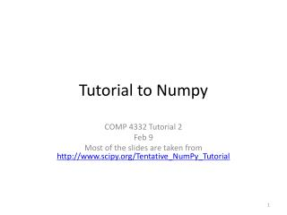 Tutorial to  Numpy