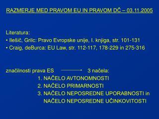 RAZMERJE MED PRAVOM EU IN PRAVOM DČ – 03.11.2005