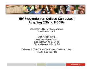HIV Prevention on College Campuses: Adapting EBIs to HBCUs