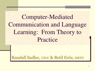 Computer-Mediated Communication and Language Learning:  From Theory to Practice