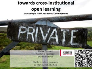 towards cross-institutional  open learning an example from Academic Development