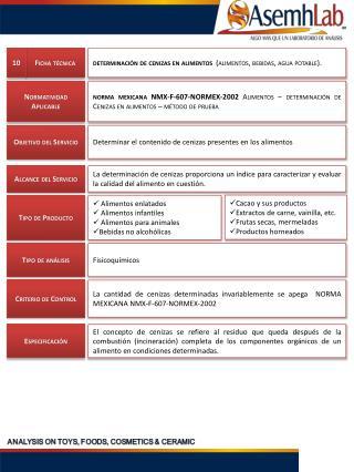 determinación de  cenizas  en alimentos   (alimentos, bebidas, agua potable).
