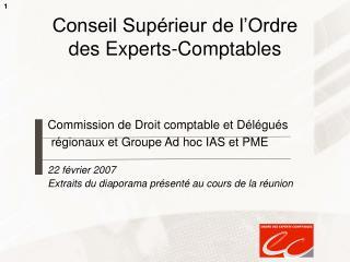 Conseil Sup rieur de l Ordre des Experts-Comptables