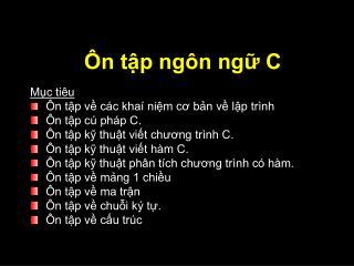 Ôn tập ngôn ngữ C