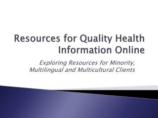Resources for Quality Health Information Online