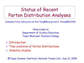 Status of Recent  Parton Distribution Analyses
