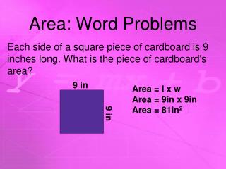 Area: Word Problems