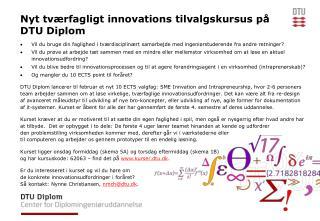 Nyt tværfagligt innovations tilvalgskursus på DTU Diplom