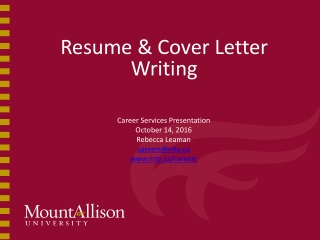 Cover Letters and  Job Applications