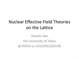 Nuclear Effective Field Theories on the Lattice
