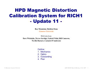 HPD Magnetic Distortion Calibration System for RICH1 - Update 11 -