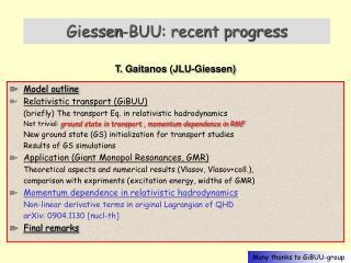 Giessen-BUU: recent progress