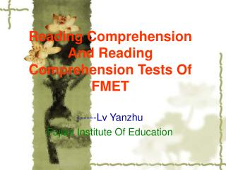 Reading Comprehension And Reading Comprehension Tests Of FMET