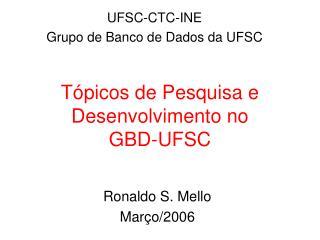 Tópicos de Pesquisa e Desenvolvimento no  GBD-UFSC