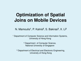 Optimization of Spatial Joins on Mobile Devices