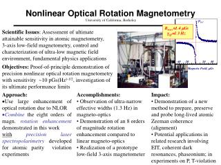 Nonlinear Optical Rotation Magnetometry University of California, Berkeley