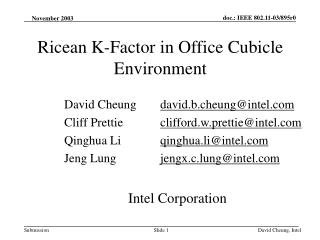 Ricean K-Factor in Office Cubicle Environment