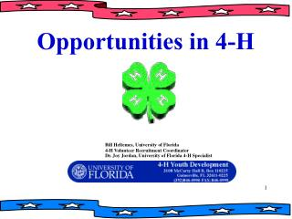Bill Heltemes, University of Florida                                                   4-H Volunteer Recruitment Coordin