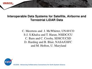 Interoperable Data Systems for Satellite, Airborne and Terrestrial LiDAR Data
