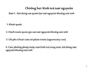 Chöông hai: Kinh teá taøi nguyeân