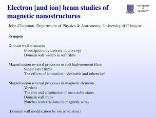 Electron [and ion] beam studies of magnetic nanostructures