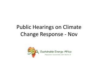 Public Hearings on Climate Change Response - Nov