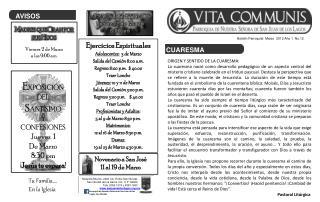 Boletín Parroquial  Marzo  2012 Año 1  No.12