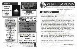 Boletín Parroquial  Febrero  2012 Año 1 No.11