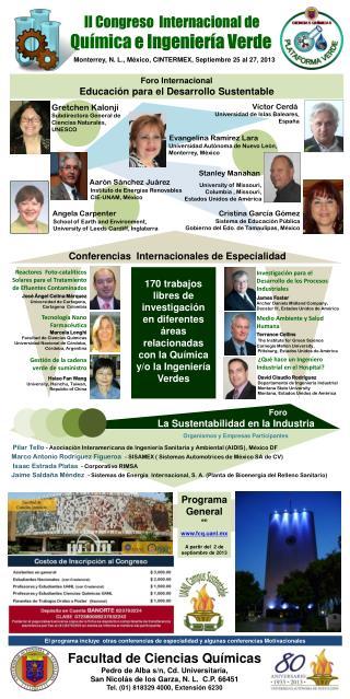 II Congreso   Internacional de                                Química e Ingeniería  Verde