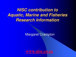 NISC contribution to  Aquatic, Marine and Fisheries Research Information