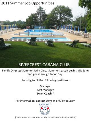 2011 Summer Job Opportunities!