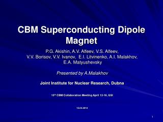 CBM Superconducting Dipole Magnet