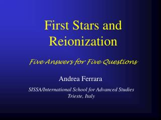 First Stars and Reionization