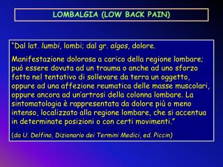 LOMBALGIA LOW BACK PAIN