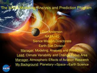 The NASA Modeling, Analysis and Prediction Program
