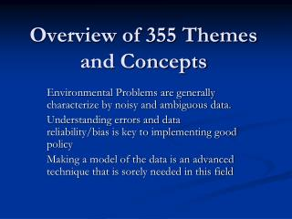Overview of 355 Themes and Concepts