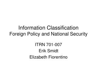 Information Classification Foreign Policy and National Security