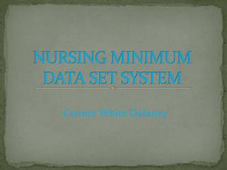 NURSING MINIMUM DATA SET SYSTEM