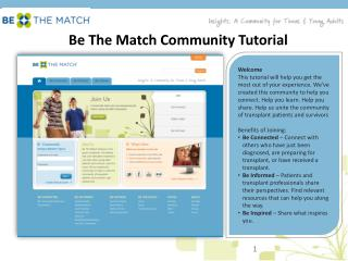 Be The Match Community Tutorial