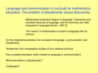 Key competencies/basic skills