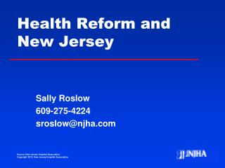 Health Reform and New Jersey