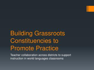 Building Grassroots Constituencies to Promote Practice