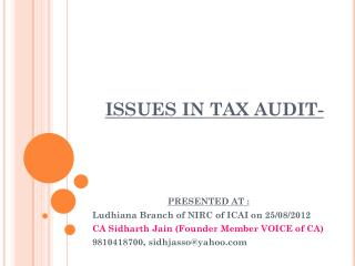 ISSUES IN TAX AUDIT-