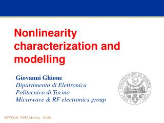 Nonlinearity characterization and modelling