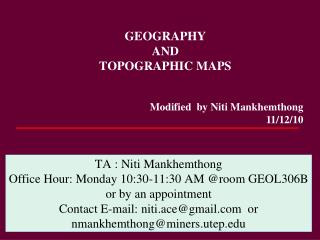 GEOGRAPHY  AND  TOPOGRAPHIC MAPS
