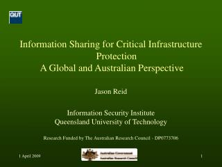 Information Sharing for Critical Infrastructure Protection  A Global and Australian Perspective