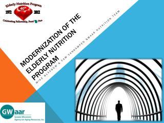 Modernization of the Elderly Nutrition Program