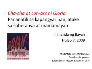 Cha-cha at con-ass ni Gloria:  Pananatili sa kapangyarihan, atake sa soberanya at mamamayan