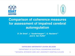 Comparison of coherence measures for assessment of impaired cerebral autoregulation